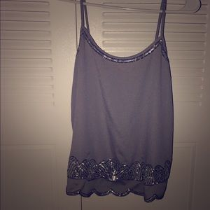 EXPRESS tank - Gray with silver embroidery